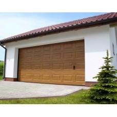 Ворота секционные серии RSD01SС №14 ширина 3350 высота 2390 филенка полоса, золотой дуб