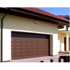 Ворота секционные серии RSD01SС №14 ширина 3350 высота 2390 филенка полоса, коричневые
